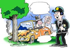 Policeman reports of a accident Royalty Free Stock Photo
