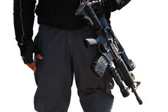Policeman and rifle Royalty Free Stock Photo