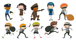Policeman and robbers in different actions. Illustration Stock Image