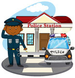 Policeman saluting in front of police station Stock Images