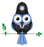 Policeman sat on a branch. Comical bird policeman sat on a branch isolated on white background Stock Images