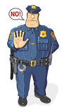 Policeman says NO. Funny Policeman. Picture, comics. Policeman says NO Royalty Free Stock Image