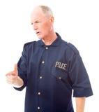 Policeman scolding somebody Stock Photos