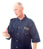 Policeman scolding somebody Stock Images