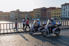 Policeman on scooters in Pisa, Italy Stock Photos