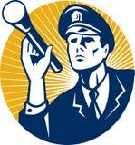 Policeman Security Guard With Flashlight Retro Stock Photos