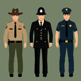 Policeman and sheriff. British policeman and sheriff uniform, vector police officers people, profession vector illustration Royalty Free Stock Photo