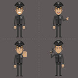 Policeman shows in different poses Stock Photos