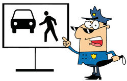 Policeman shows how not to cross Royalty Free Stock Photo