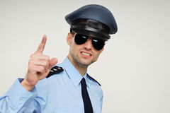 Policeman shows on you. Royalty Free Stock Photography