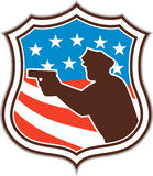 Policeman Silhouette Pointing Gun Flag Shield Retro Stock Photography