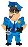 Policeman stand and smoke. Happy policeman stand and hold on his mouth a pipe vector illustration