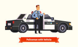Policeman standing in from of his car Royalty Free Stock Images