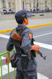 Policeman standing near Government Palace in Lima, Peru. Royalty Free Stock Image