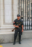 Policeman standing near Government Palace in Lima, Peru. Royalty Free Stock Photo