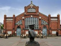 The Policeman statue (Toripolliisi) and the Market Hall on Marke stock photos