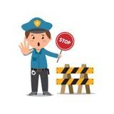 Policeman with stop sign. Vector cartoon of policeman holding stop sign Stock Photos