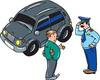 Policeman stopped the car, talking with the driver. Policeman stopped the car, salutes and talking with the driver on the road Stock Photography