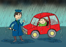 Policeman stopping car in the rain, cartoon Royalty Free Stock Photo