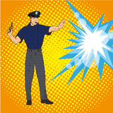 Policeman stopping explosion. Vector illustration in pop art retro comic style. Royalty Free Stock Photo
