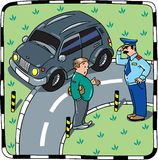Policeman talking with the car driver Royalty Free Stock Images