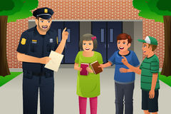 Policeman Talking to Kids Stock Images