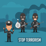 Policeman and Terrorists in City Stock Images