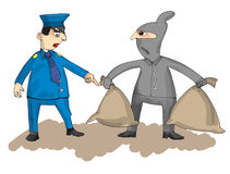 Policeman and thief on the white background, cartoon Stock Images
