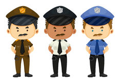 Policeman in three different uniforms Stock Image