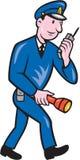 Policeman Torch Radio Cartoon Stock Photography