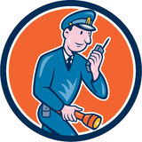 Policeman Torch Radio Circle Cartoon Stock Photo
