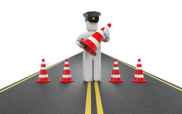 Policeman with traffic cones Stock Photography