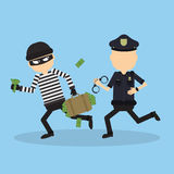 Policeman tries to chase a thief. Funny cartoon character.Concept of heist, crime, hacking and more Stock Photo