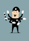 Policeman  in uniform with many hands Royalty Free Stock Photos