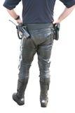 Policeman in uniform for motobike Stock Photos