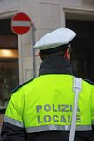 Policeman in uniform of the municipal police in Italy. During a surveillance service Royalty Free Stock Photo