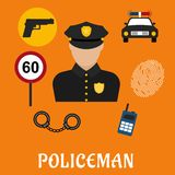 Policeman in uniform with police icons Royalty Free Stock Photo