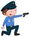 Policeman in uniform shooting a gun Royalty Free Stock Image