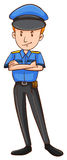 Policeman in uniform standing alone. Illustration Royalty Free Stock Image
