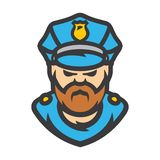 Policeman Vector Cartoon illustration. Police officer in a cap Isolated on a white background stock illustration