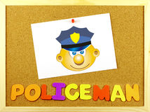 Policeman word on a corkboard Royalty Free Stock Image