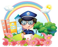 A policeman writing near the flowers Royalty Free Stock Photography
