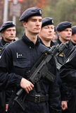 Policemen. Editorial photo: Czech police forces armed with sub-machine guns. Troops review in Prague, Czech Republic. October 2008 Stock Photography