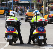 Policemen on bikes Royalty Free Stock Photo