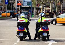 Policemen on bikes Royalty Free Stock Images