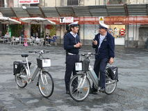 Policemen in Catania. How police works at pedestrian zone in Italy Royalty Free Stock Photography