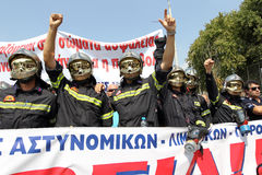 Policemen demonstration. THESSALONIKI,GREECE - SEPT,08: Policemen, firefighters and port policeman protest in Thessaloniki against further cuts on their payroll Royalty Free Stock Photos