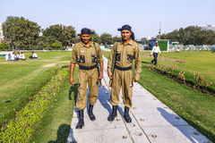 Policemen guard Connaught Place Royalty Free Stock Photo