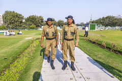 Policemen guard Connaught Place Royalty Free Stock Photography