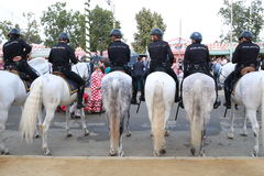 Policemen on horseback. Cops mounted on horseback concasco and uniforms in line prepared to act Stock Photography